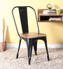 Wooden and metal chairs Classic Metal Buy Kumtor Metal Chair In Distress Black Colour With Wooden Seat By Bohemiana Online Living Room Furniture Studio Gurgaon M G Road Studio Pepperfry Buy Kumtor Metal Chair In Distress Black Colour With Wooden Seat By