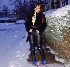 winter fashion fur fashion fur coat leather pants fur and leather