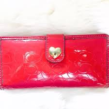 Coach Red Patent Gloss Leather Wallet Heart Charm