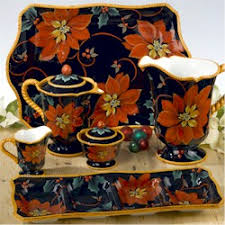 Discontinued Certified Intl Poinsettia Dinnerware by Pamela Gladding