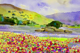 watercolor landscape painting colorful of flowers river and mountain stock ilration ilration of