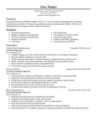 Sample Resume For Machine Operator Position