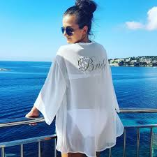 Personalised Bride Bridesmaid Hen Party Kaftan Beach Cover Up