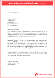 rental agreement termination letter sample letter to terminate a contract