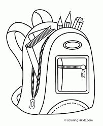 Backpack For School Coloring Page For Kids Printable Free Ruva