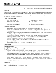 Resume Distribution Professional Transportation Professional Templates To Showcase Your 20
