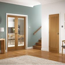 internal oak unfinished suffolk 2l pair door with etched clear glass gopsuf