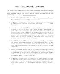 Music Contract Download Our Sample Of Record Label Artist Contract Template