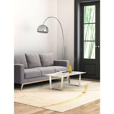 zuo atlas stone and brushed stainless steel coffee table