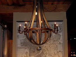 reclaimed wood wine barrel chandelier