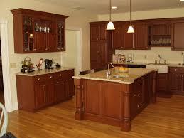 furniture dark brown wooden kitchen cabinet with cream granite countertops connected by dark brown wooden
