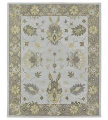 baroque border silver wool rug