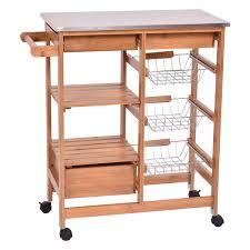 costway bamboo rolling kitchen island trolley cart storage shelf drawers 0