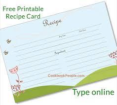 Recipe Cards Print Free Recipe Cards Cookbook People