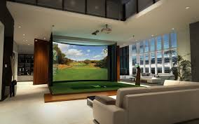 indoor golf simulator room | Resolution Curved Widescreen Golf Simulators  from High Definition Golf .