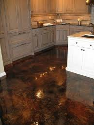 wood kitchen cabinets & stained concrete floors | Acid Stained Concrete  With High Gloss Flooring For