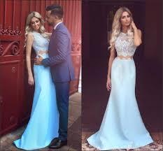 Light Blue Prom Dresses 2018 Light Sky Blue Prom Dresses 2018 New Lace Top Jewel Neck Satin Skirt Formal Evening Wear Arabic Vestido De Soiree Ba3914 Stores For Prom Dresses Tall