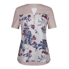 Walmart Time And Tru Size Chart Womens Floral Buttons Short Sleeve V Neck Loose Patchwork Casual Blouse