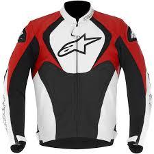 alpinestars jaws leather jacket black white red thumb 0