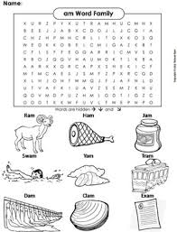 A word family is basically a group of words with the same sound pattern. Am Word Family Word Search Coloring Sheet Phonics Worksheet By Science Spot