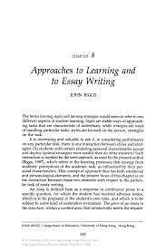 approaches to learning and to essay writing springer inside