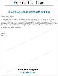 experience letter sample experience letter format for baker