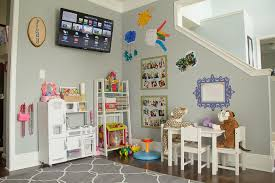 dining room turned playroom. colorful modern children\u0027s playroom - gray rug, ikea furniture, play kitchen, zgallerie orbit dining room turned m