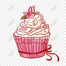 Merah Muda Yang Dilukis Dengan Tangan Lucu Cupcakes Bahan Png Gr