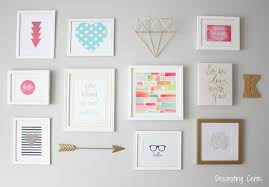Create a gallery wall that's pretty in pink by using different pink  watercolor paintings. You can also add a modern element by using some gold  accents.