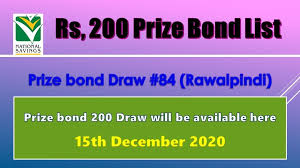 From 24 november 2020 we're reducing the interest rates on some of our savings accounts. Rs 200 Prize Bond List Draw 84 Result 15 December 2020 Rawalpindi Bond List Bond Prizes