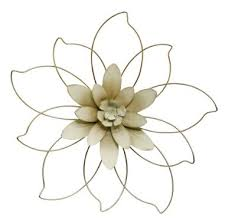 gold ivory metal flower wall decor 20 5