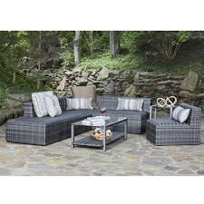 image modern wicker patio furniture. Woodard Canaveral Eden Modern Wicker Sectional Sofa And Chair Set -  WD-CANAVERAL-SET3 Image Modern Wicker Patio Furniture