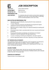 Sales Assistant Job Duties Eymir Mouldings Co Description For Retail