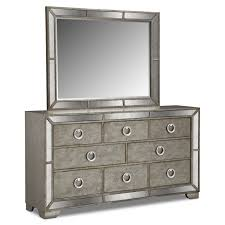 angelina dresser and mirror metallic by pulaski bedroom furniture bedrooms mirrored furniture