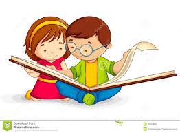vector ilration of kid reading open book sitting on floor