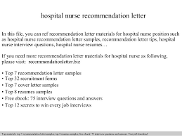 Sample Recommendation Letter For Nurses Employment Reasons