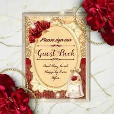 Sign Book For Wedding Details About Beauty The Beast Guest Book Wedding Sign Red Rose Decoration Fairytale Sign