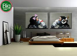 hand painted modern european style wall art picture home decor for living room abstract thinking gorilla oil painting on canvas on wall art canvas for living room with hand painted modern european style wall art picture home decor for