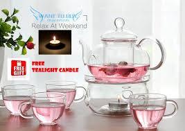 600ml heisou glass teapot flower tea sets infuser cups elegant gifts