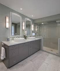 bathroom features gray shaker vanity: bathroom vanity light fixtures bathroom with chrome hardware double sink glass shower gray vanity mirror