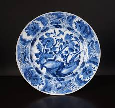 Very nice antique <b>Chinese blue</b> and <b>white</b> bowl with pheasant on ...