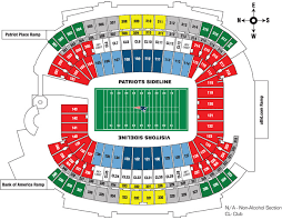 New England Patriots Seating Chart Gillette Stadium Seating Chart