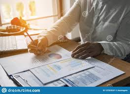 Reading Investment Charts Top View Of Young Working Woman Using Laptop And Reading