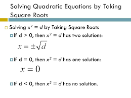 algebra 1 section 10 4 use square roots to solve quadratic