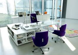 White Themed Cool Home Office Design with Contemporary White L Shaped Office  Desk that have Side
