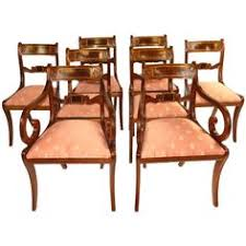 regency set of eight dining chairs