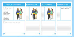 friendship recipe template. Recipe for a Good Friend Differentiated Worksheet Activity