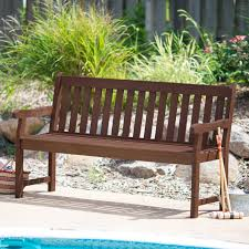 Coral Coast Amherst Straight Back Outdoor Wood Garden Bench | Hayneedle