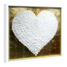 gold metal flower wall art foil canvas gal feather heart white and framed gray kids room gold metal flower wall art
