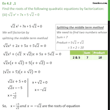 which are the solutions of the quadratic equation x2 7x 4 math ex 1 chapter 4